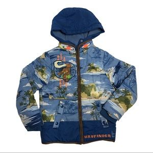 Disney 5/6 Moana Puffer Zip Up Jacket Hood Blue